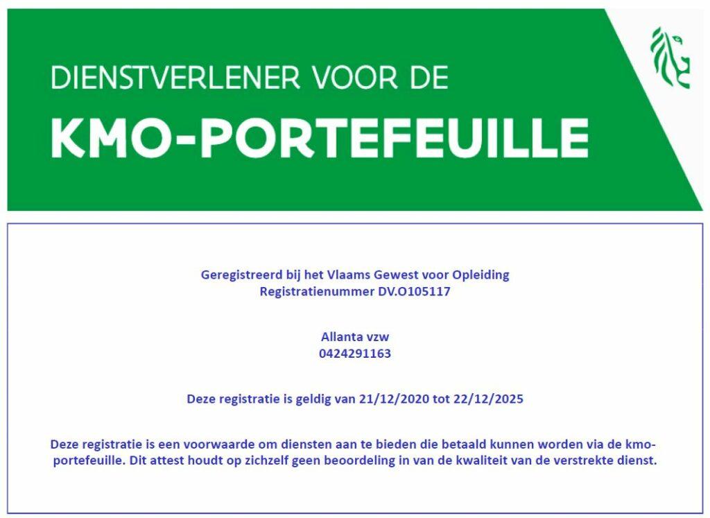 Allanta vzw is geregistreerd bij het Vlaams Gewest voor Opleiding KMO-portefeuille